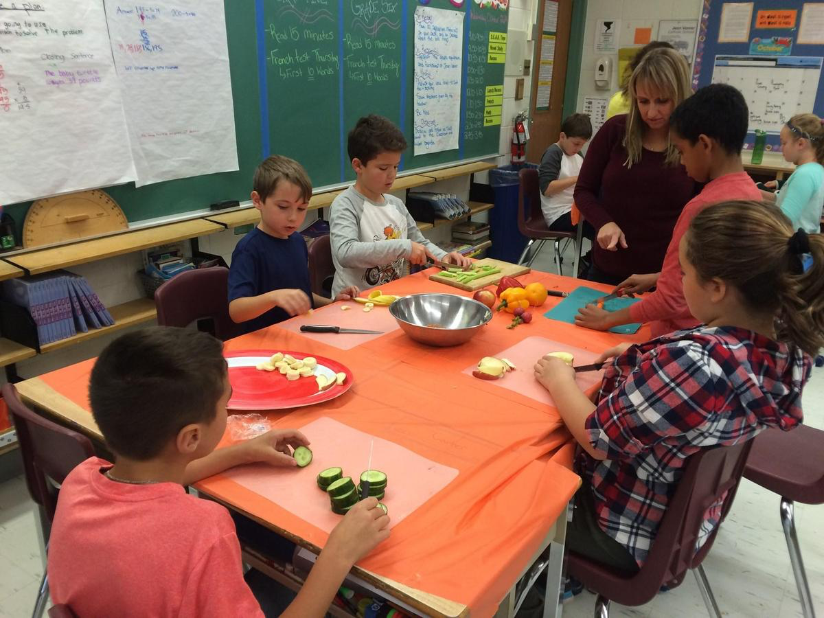 Elementary students cooking in classroom
