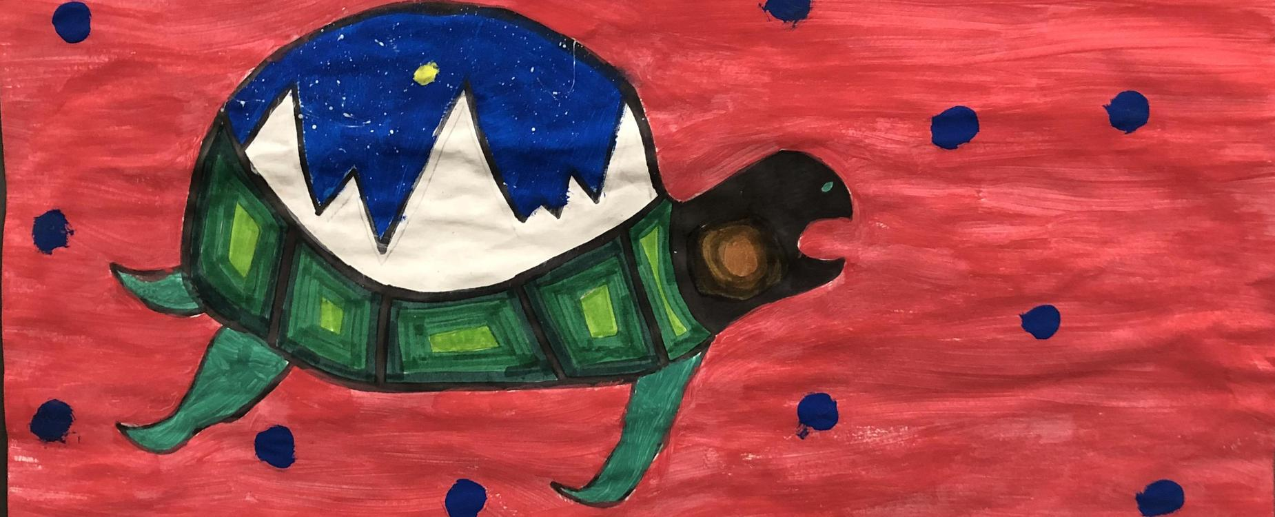 A indigenous style painting of a turtle