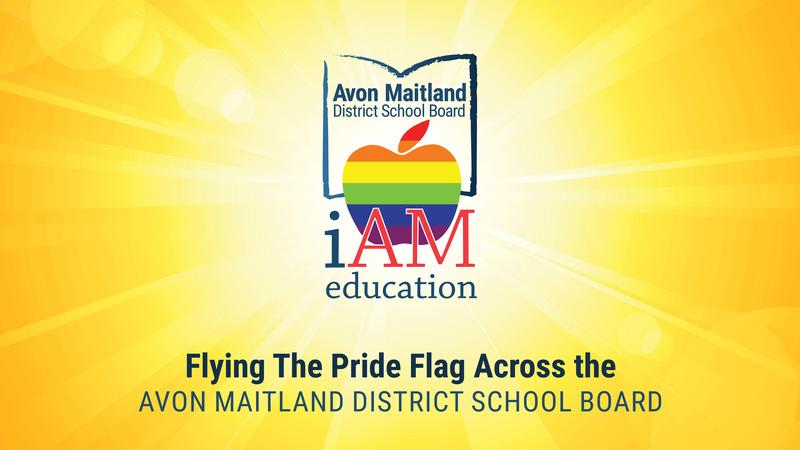 AMDSB logo with apple in rainbow stripes. Flying the Pride Flag Across the Avon Maitland District School Board