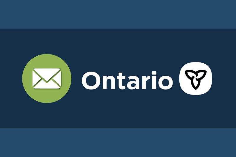 Graphic of envelope on the left and Province of Ontario logo on the right