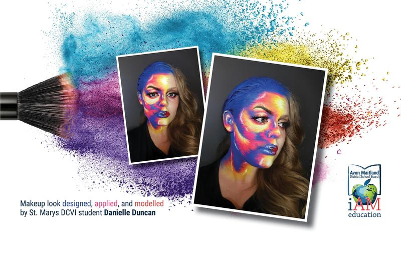 Photos of a student modelling a makeup design on one side of her face. It is an artistic painted look in bold blue, orange, yellow, pink, and red. She also wears very long false eyelashes. The other side of her face is made up with red lipstick and bold eye makeup, and her long hair is curled.