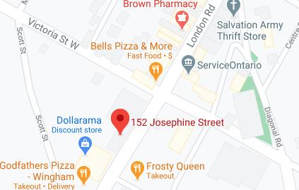 Screenshot of Google map of Wingham CEL location