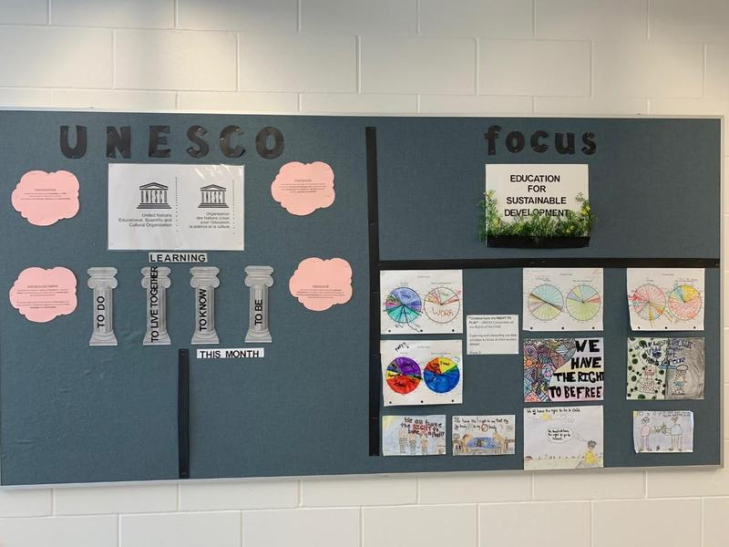 A bulletin board posted on the wall.  On the left side reads UNESCO and what needs to be done to become a UNESCO school. On the right side it lists Education for Sustainable Developement with pictures of how the schools in doing this.