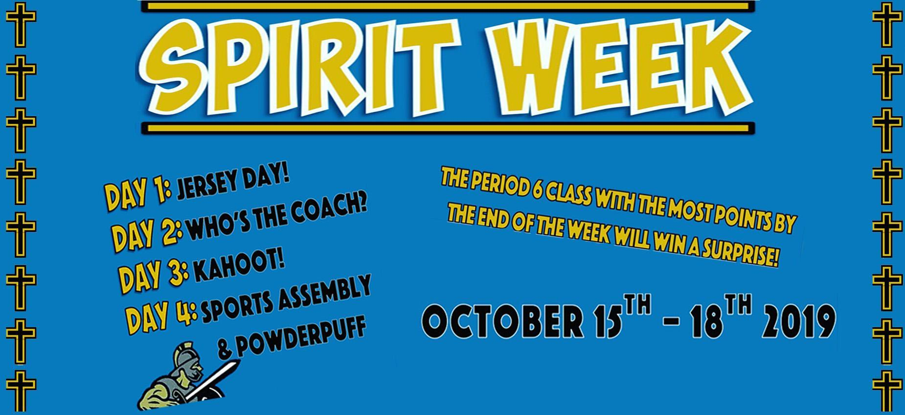 Spirit Week Oct 15-18