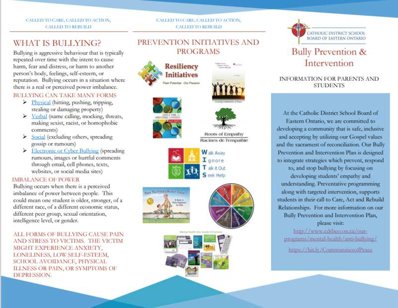 CDSBEO Bully Prevention Intervention Plan Brochure Featured Photo