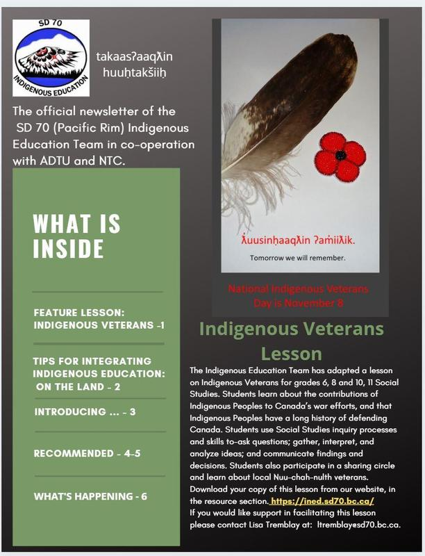Issue 1 of the SD 70 (Pacific Rim) Indigenous Education Newsletter Featured Photo