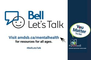 Bell Let's Talk logo. Visit amdsb.ca/mentalhealth for resources for all ages. #BellLetsTalk Navy sidebar with
