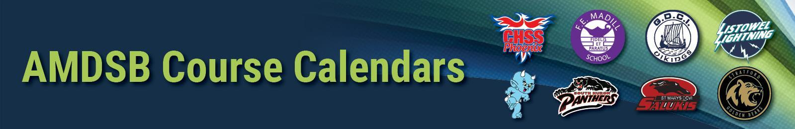 Banner image with swoops of blue and green. Text: 'Course Calendars'