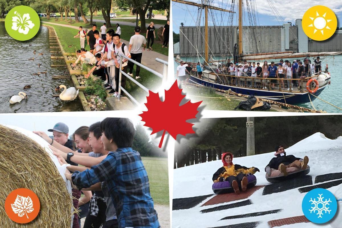 students enjoying Canada's 4 seasons