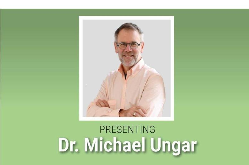 Head shot of Dr. Michael Ungar with text