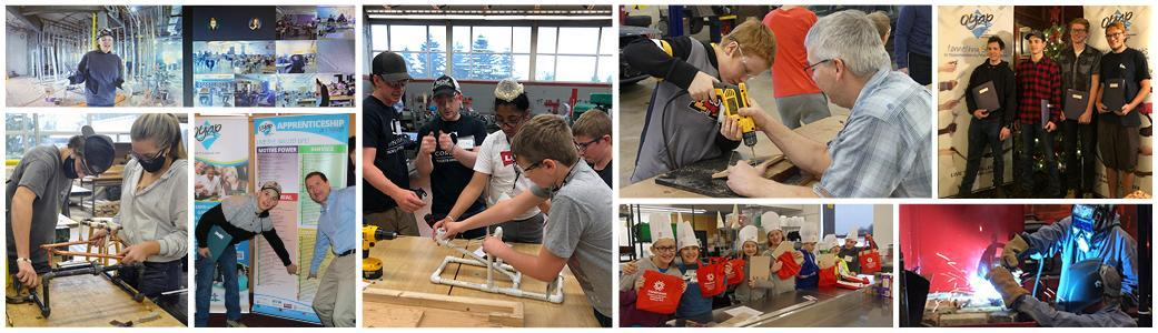 Collage of photos of students engaged in experiential learning opportunities