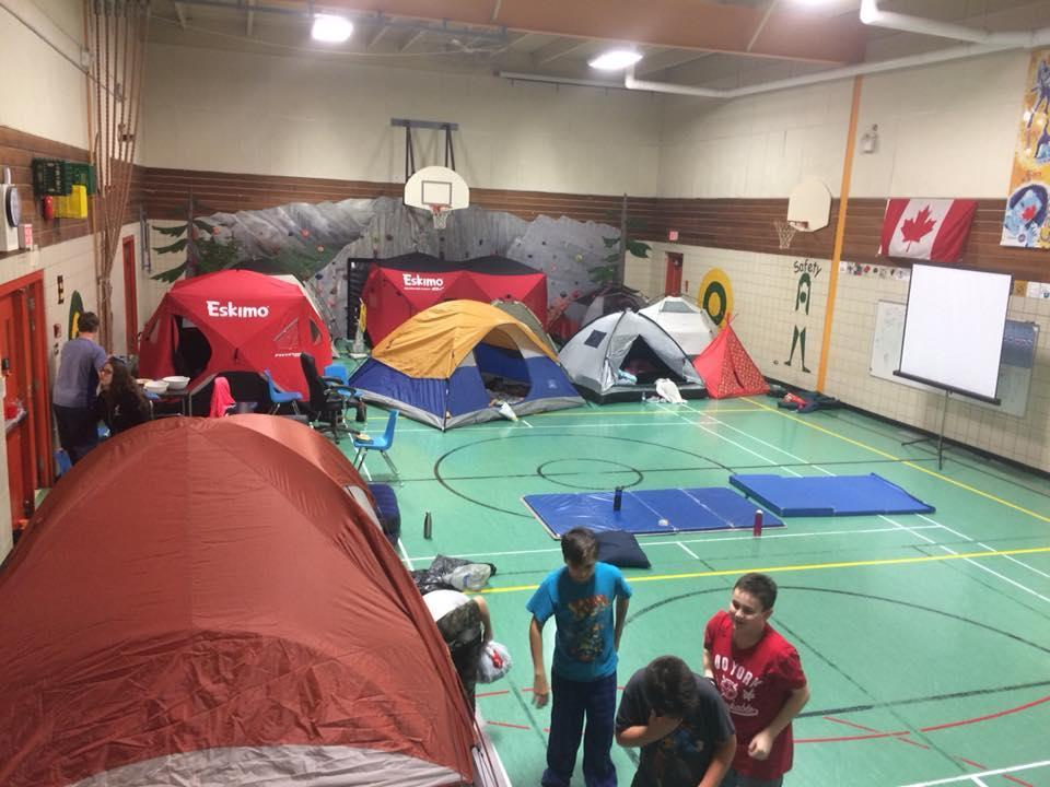 camping in the school gym