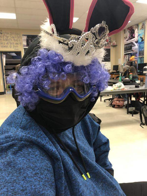 student dressed in odds and ends costume