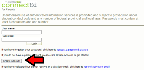 """Image of the Student Information Portal login page with an arrow pointing to the """"Create Account"""" button"""