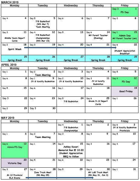 School Calendar Mar-May