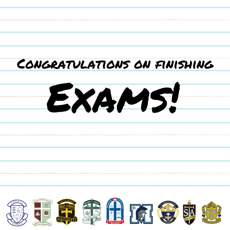 text on lined paper that reads congratulations on finishing exams! with high school logos lined up at the bottom