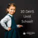 little girl with chalk that reads 20 days until school