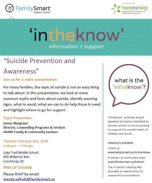 'intheknow'  Suicide Prevention & Awareness presentation Image