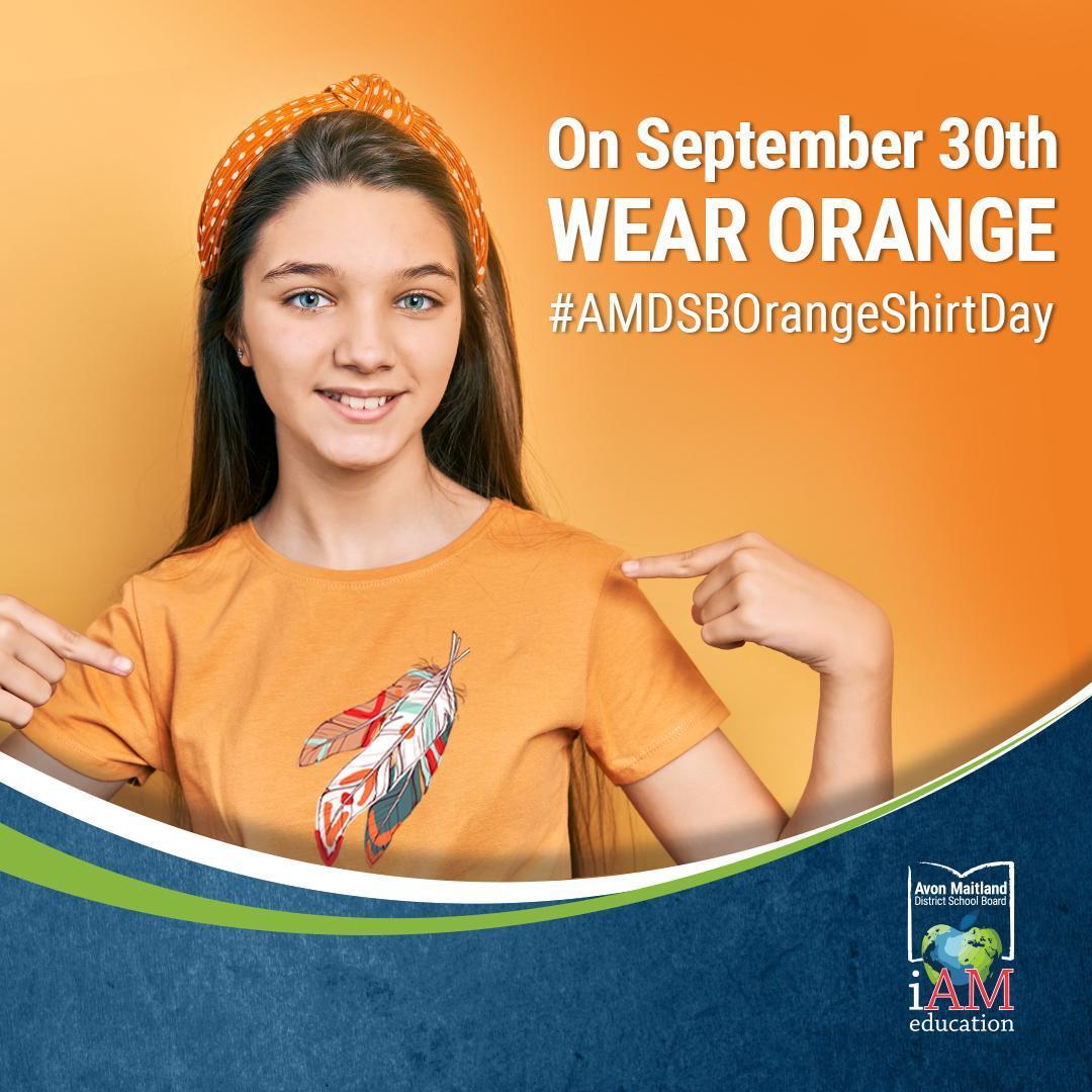 "Orange background with school-aged girl wearing an orange shirt and pointing at her shirt. Text says ""On September 30 wear orange. #AMDSBorangeshirtday"