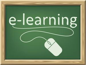A chalkboard with the word e-learning and a mouse cord used as an underline scroll