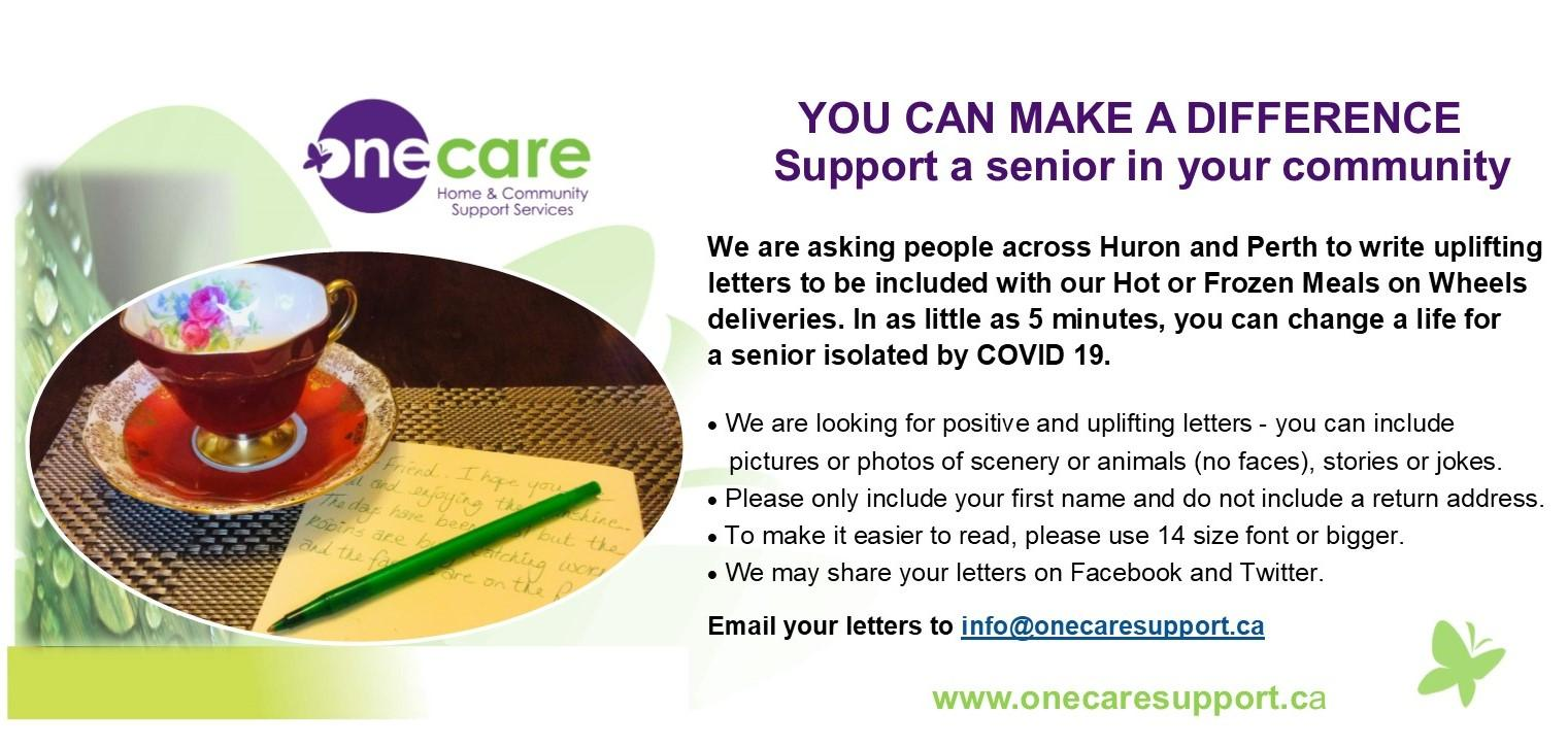 ONE CARE letter writing campaign