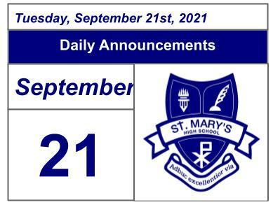 Daily Announcements - Tuesday, September 21, 2021 Featured Photo