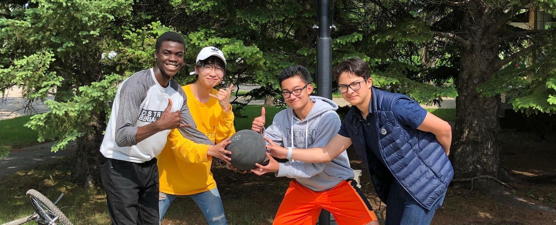 boys with basketball