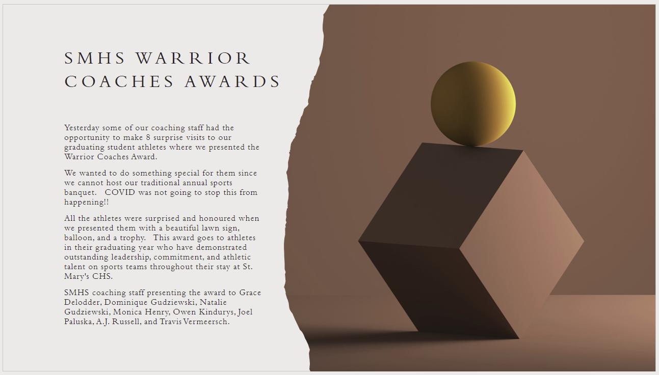 smhs warrior coaches awards 2021