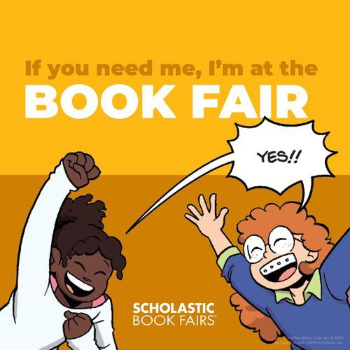 Two kids excited about visiting book fair