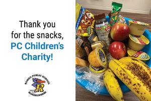 Thank you for the snacks, PC Children's Charity! Romeo logo. Image of a bowl of snacks.