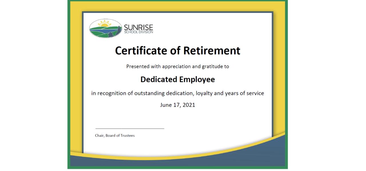Certificate of Retirement