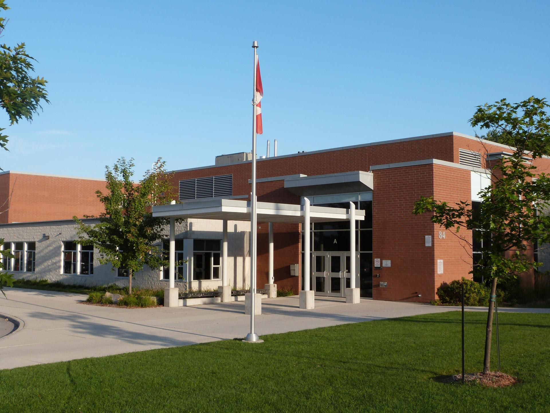 Front view of St. Anne's Catholic School, St. Thomas