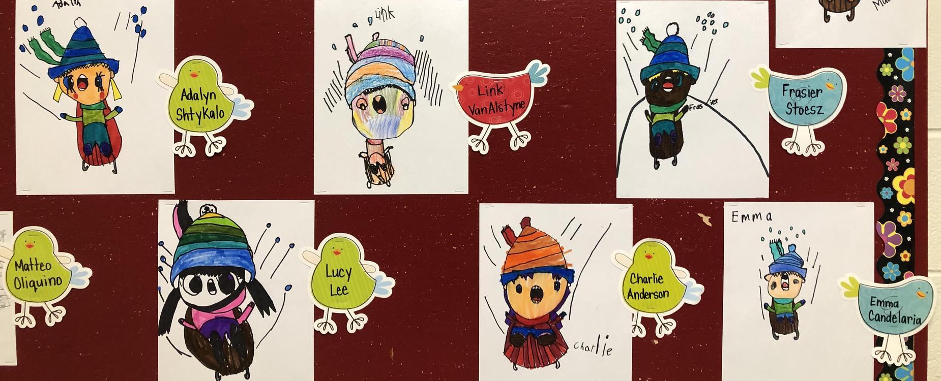 Grade 1 students have drawn cartoon characters tobogganing down a hill.