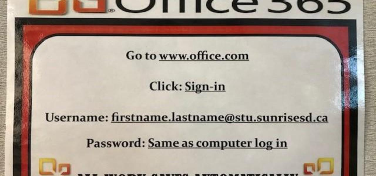 Office 365 login instructions.