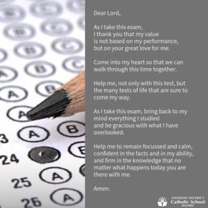secondary exam prayer