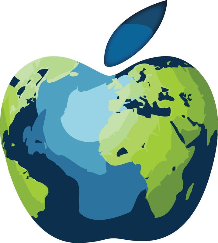 Image of an apple with a world map imprinted on the front
