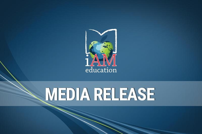 Blue background with AMDSB logo in the middle and Media Release underneath