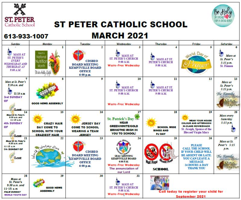 March School Calendar Featured Photo