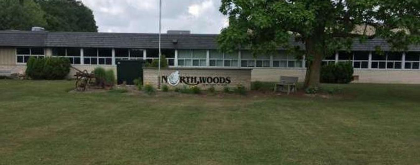 Exterior photo of the front of North Woods Elementary School