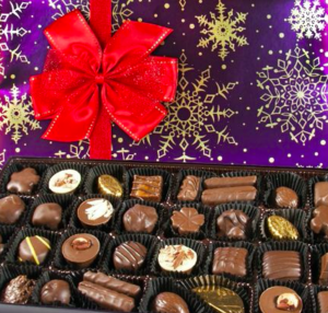 Purdy's chocolate box open to show chocolates inside