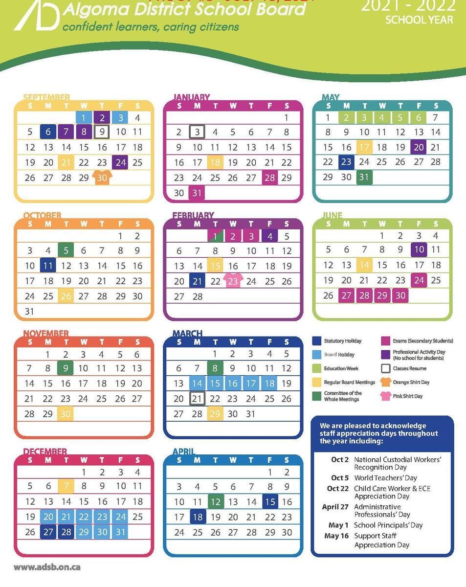 21/22 school year calendar