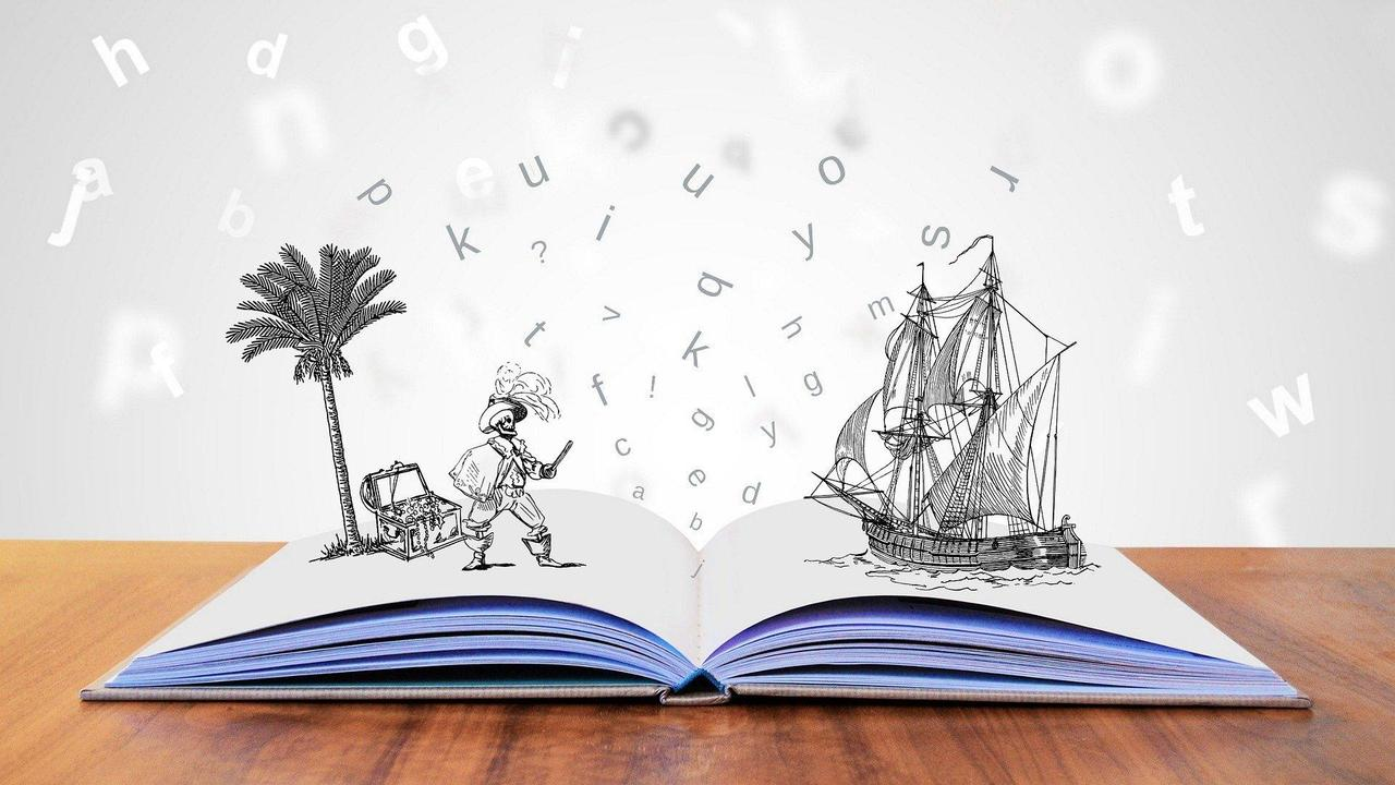 pirate and ship popping out of an open book