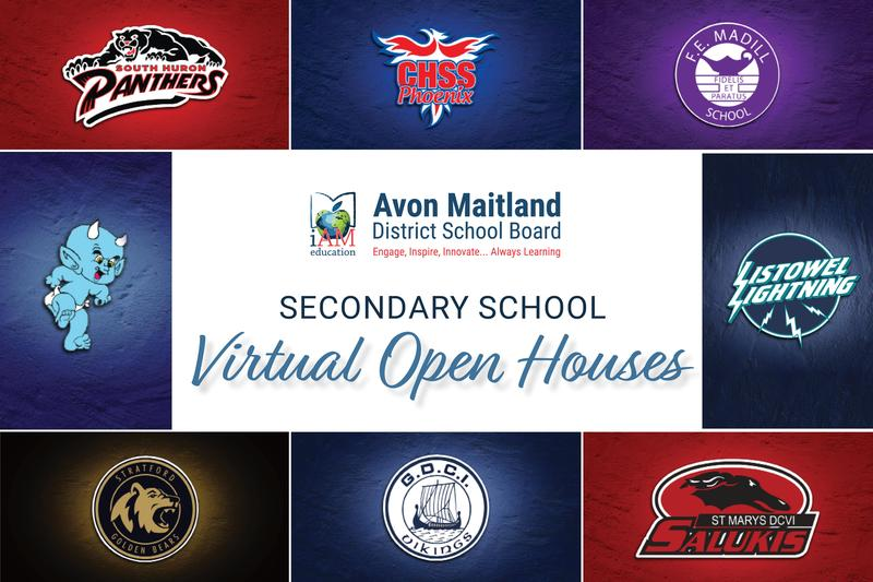 Collage of logos from AMDSB secondary schools with