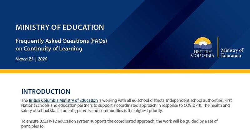 FAQ from the Ministry of Education - COVID 19 Featured Photo