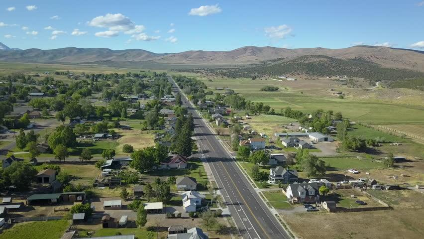 overhead view of rural town photo