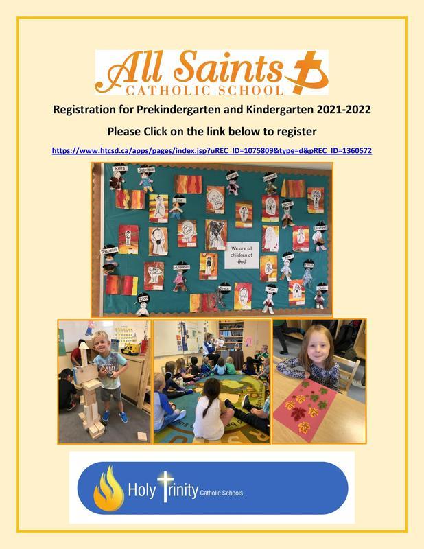 All Saints Catholic School Prekindergarten and Kindergarten Registration 2021-2022 Featured Photo