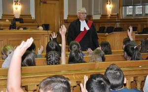 Judge and students