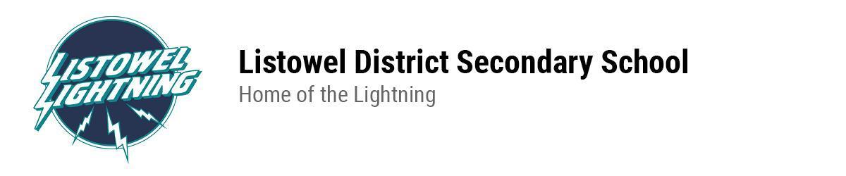 Listowel Lightning logo. Listowel District Secondary School. Home of the Lightning