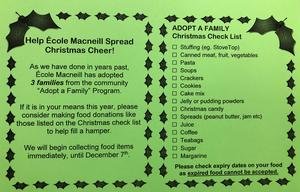 A green handout explaining that Ecole Macneill has adopted 3 families for the Christmas
