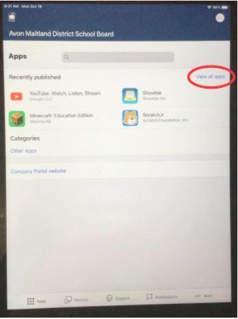Company Portal apps main page